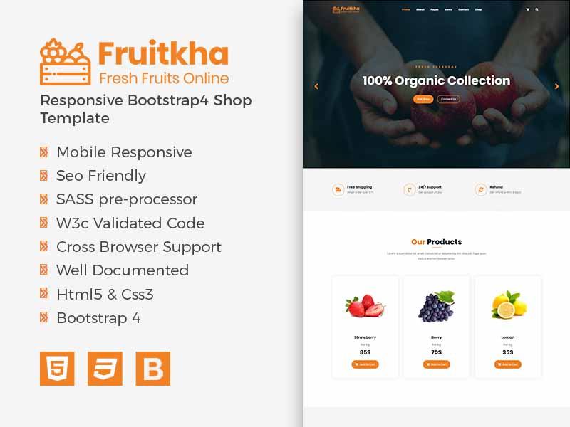 Fruitkha Responsive Bootstrap4 Shop Template